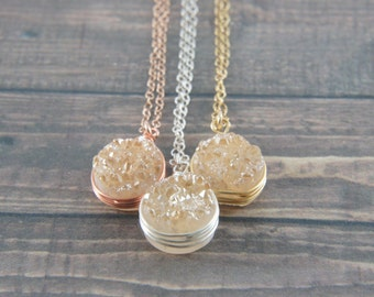 Wire Wrapped Champagne Peach Druzy Quartz necklace, rose gold, gold, silver, wedding, bridesmaid, layered necklace. message card