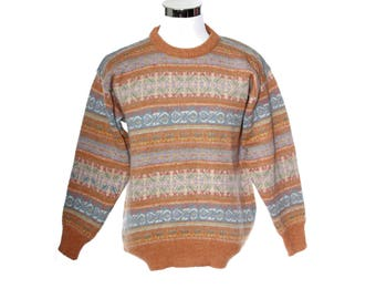 Michael Ross NWT 100% hand loomed wool orange/lilac pullover / sweater , 80s NOS with tags, Made in England