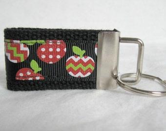 Teacher Appreciation Mini Key Fob - Apple Key Chain - Apples Key Fob - Teacher Gift - Chevron Zipper Pull - Ready to Ship