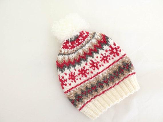 Knitting Pattern Knit Hat Scandinavian Knit Hat Pompom Hats
