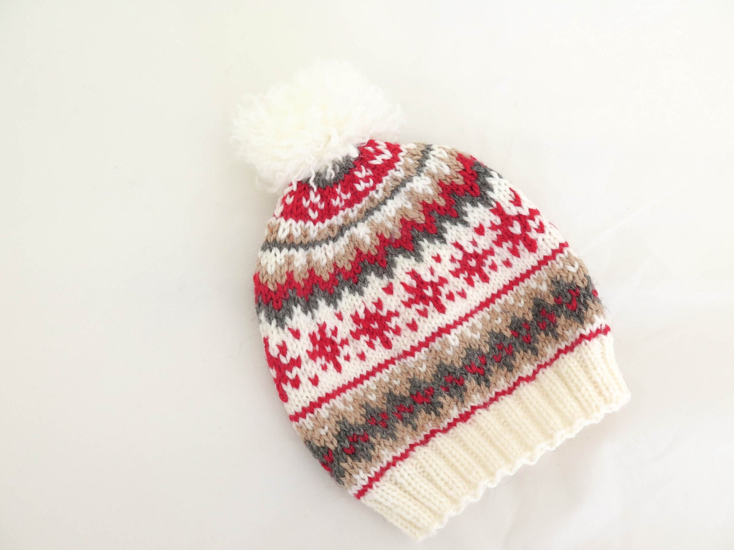 KNITTING PATTERN Knit Hat Scandinavian Knit Hat Pompom Hats