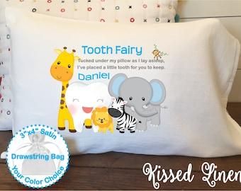 Personalized Tooth Fairy White Toddler Travel Pillowcase Soft 100% Cotton Flour Sack Fabric Boy Jungle Giraffe Elephant Tooth Fairy Pillow