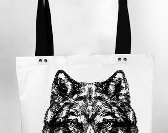 Wolf - hand screen printed cotton canvas tote bag