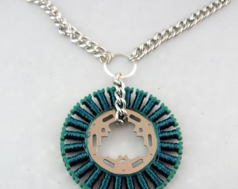 Repurposed Teal Wire VCR Radial Array as Pendant on Chain Necklace -- Techie in Teal
