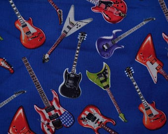 Novelty fabric guitars by the half yard Timeless Treasures novelty electric guitar blue rock band kids fabric quilting fabric rock star