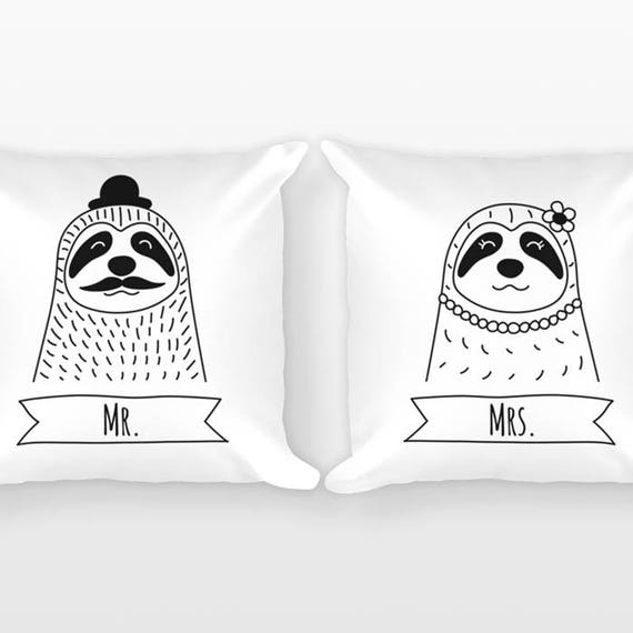 Mr and Mrs Pillows, Sloth Couple Pillows, Unique Wedding Gift for Couple Gift Set of 2 Throw Pillows, Anniversary Gift, Engagement Gift