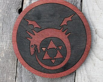 Fullmetal Alchemist Ouroboros Wood Coaster   Rustic/Vintage   Hand Stained and Glued  