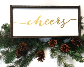 Cheers White & Gold Handcrafted Handpainted Wooden Sign