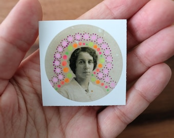 Vintage Neon Colours Round Vinyl Sticker Collage Art, Original Label From Retro Woman Portrait Altered With Colorful Bright Shades Pens