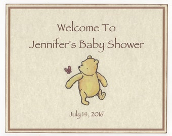 Winnie The Pooh Baby Shower Welcome Sign, Boy Or Girl Personalized Baby Shower Decoration Sign, 8X10 Vintage Style Gender Neutral