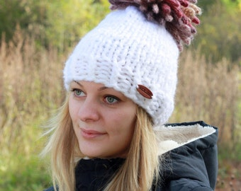 Chunky Knit Hat / Womans pom pom hat / Hand Knit Hat / Knit Women Hat / Knitted Hat with Pom Pom / Pom pom Hat / Teens Hat / Winter Hat