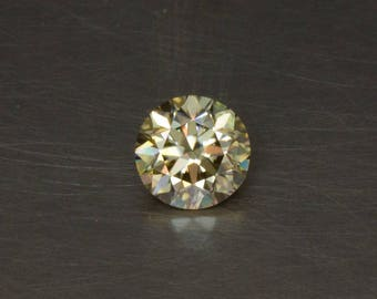 Champagne Moissanite Golden Off-White Loose Lab Created Conflict Free Standard Round Brilliant Cut Faceted Gemstone