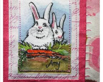 AMY: Hand painted linen/cotton napkin of Bunnies. Table-runner, gift basket, bread basket. One of a kind. Handmade. Original art.