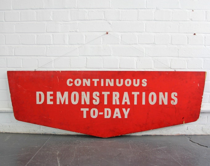 Double Sided Wooden NHS Strike Sign Circa 1960s