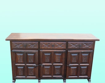 Stunning One of A Kind Vintage Carved Buffet