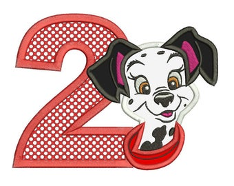 Dalmatian Puppy 2nd Birthday Applique Machine Embroidery Design 3 sizes instant download