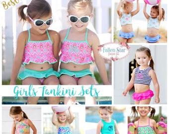 Monogrammed Girls Bathing Suit  , Personalized Girls Bathig Suit , Girls Tankini Set  ,Toddler Bathing Suit , Girls Bikini