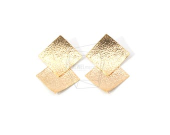 ERG-577-MG/2PCS/Two Rhombus Layered Leather Textured  Post Earring/25mm X 40mm/Matte Gold Plated Over Brass, 925 Silver Post