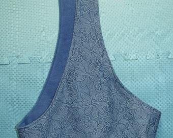 sling-blue denim with embossed flower design