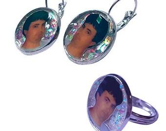 DANIEL JOHNSTON glitter earring and ring