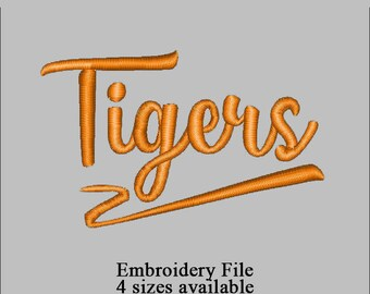 Embroidery file filled design Tigers text 4 sizes