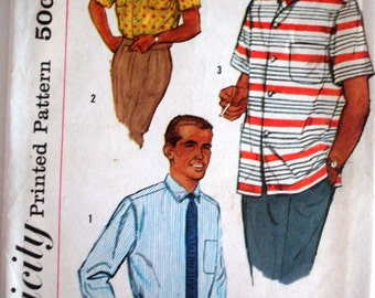 """Vintage 1957 Simplicity 2081 Men's Shirt 3 Styles Sewing Pattern Size Medium Chest 38"""" - 40"""""""
