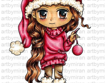 Digital Stamp - Krissy (#266), Christmas Digi Stamp, Coloring page, Printable Line art for Card and Craft Supply