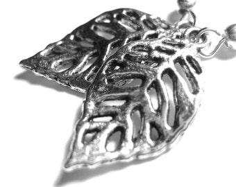Leaf Silhouette Silver Charm Earrings 121