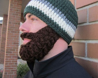 Adult ULTIMATE Bearded Beanie Dark Sage Mix