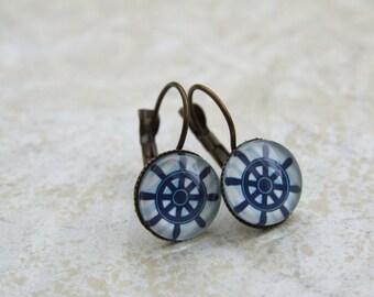 Ship Wheel Earrings, Vintage Style Dangling Earrings, Nautical Earrings, Vintage Glass Blue White Earrings