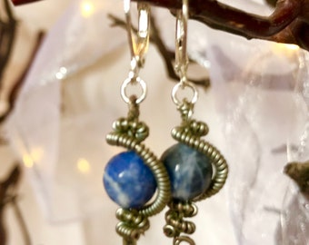 Wire-Wrap Sodalite Earrings