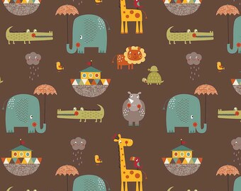 CLEARANCE Giraffe Crossing 2 - Main Brown - Riley Blake Designs - Noah's Arc Elephant - Quilting Cotton Fabric - choose your cut