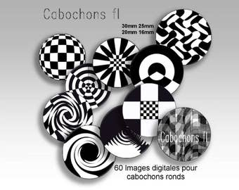 Digital images for round black and white cabochons graphic