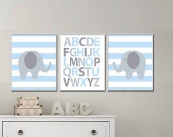 Baby Boy Nursery Art,  Alphabet And Elephant Nursery Art Suits Blue And Grey Nursery, Boy Bedroom Decor-H994 - Custom Color