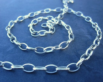 Bright Polished Sterling Silver Drawn Oval Cable Chain - 5mm X 3mm - 1 foot