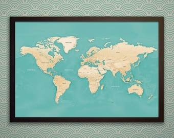 Modern World Map With Pins - Black, White, or Gold Frame - Blue World Map