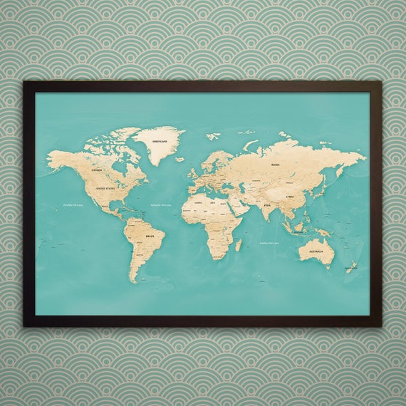 Modern world map with pins black white or gold frame gumiabroncs Image collections