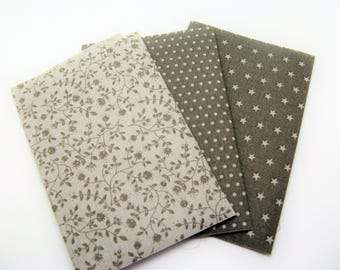 Set of 3 cotton fabric coupon fusible beige, Brown shade for applications, patch - ref 8 d