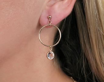 Swarovski crystal earrings, gold hoop earrings, gold jewelry, gold fill earrings, stud earrings, gifts for her, earrings, statement jewelry
