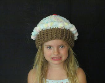 Crochet Cupcake hat ~ Size small ~ pink, gree, blue, yellow and white pastel top with medium brown bottom
