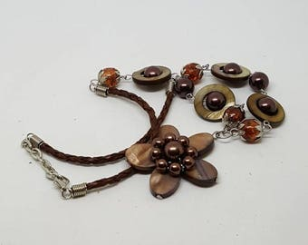 Bohemian bead necklace bronze beads leather necklace flower faux tigers eye hippy chic flower power gift for her birthday gift