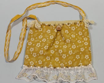 """6""""x5"""" Mini Neck Purse Little Golden Yellow Flower Fabric Party Bag Makeup Dress Up Cosmetic Small Necklace Dance Amulet Phone Size Gift Idea"""