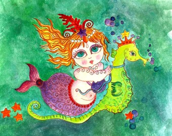 Instant Download Chubby Mermaid Beach Art Home Decor Print Sea Horse Blue Green