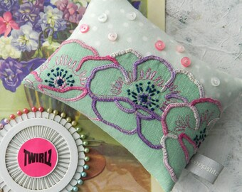Mothers Day Gift Pin Cushion and Pins ~Vintage Embroidery ~ Handmade ~ Recycled Vintage Linen ~ Sewing Accessory Gift ~ Pin Holder