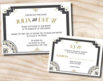 ART DECO GATSBY Wedding Invitation/Response Card Invitation Suite