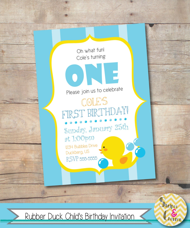 Rubber Duck Birthday Invitation Printable Rubber Duck Invite