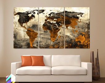 Large 30x 60 3 panels art canvas print world map large 30x 60 3 panels art canvas print world map abstract background texture metal wall decor home office included framed 15 depth gumiabroncs Image collections