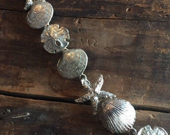 Necklace Sterling Silver Starfish Shell Sand Dollar Chain Beach Nautical Theme Jewelry