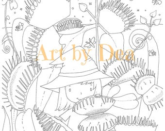 PENELOPE'S GARDEN Venus Flytrap Digital Download PDF Instant Coloring