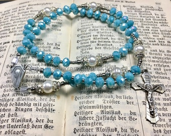 Rosary small pocket rosary antique crucifix and center blue crystal Lourdes Virgin Mary Catholic rosary beads  by Rosenkranz-Atelier